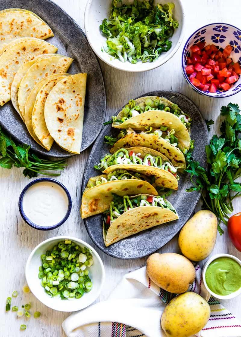 dairy-free plant-based crispy potato tacos