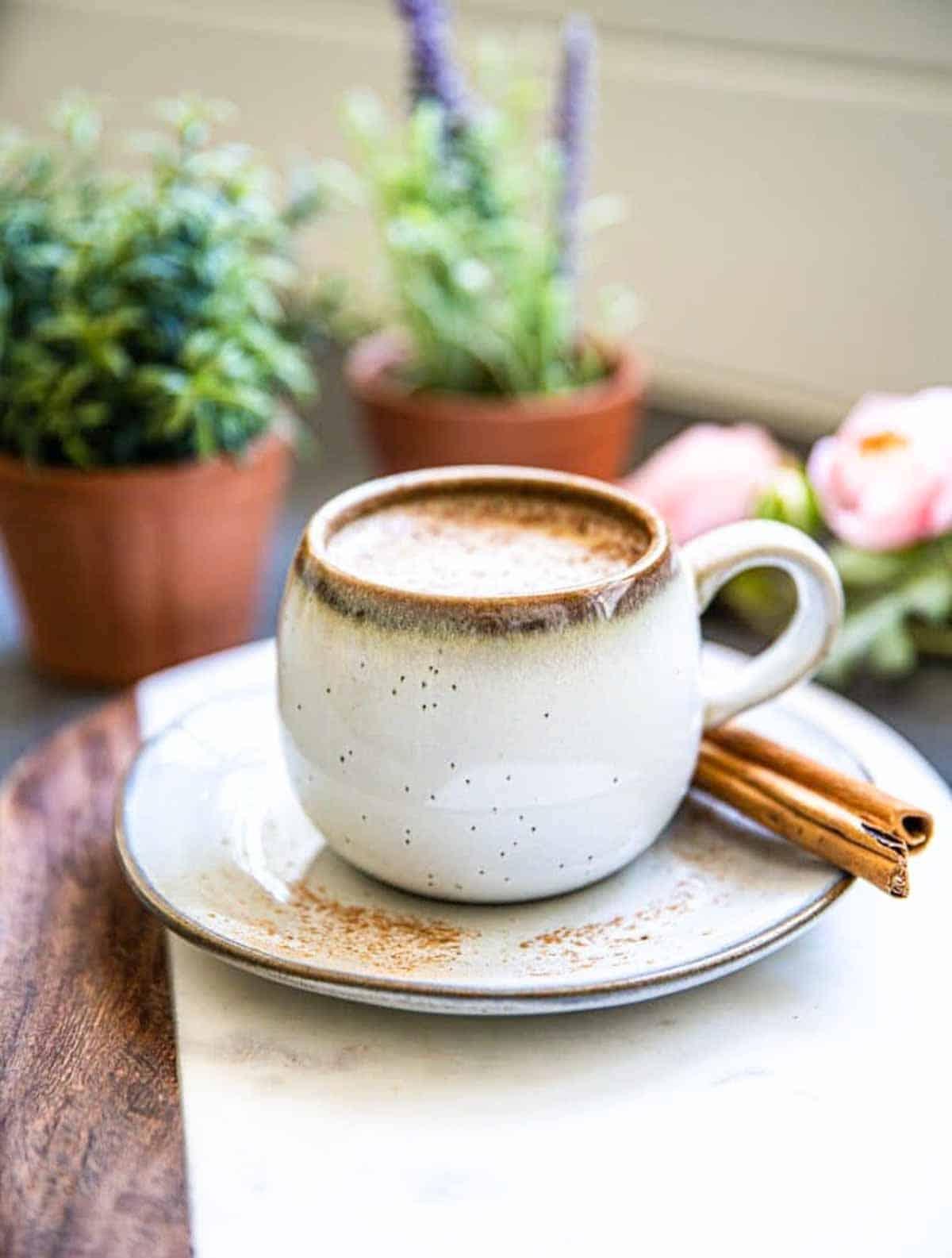 cinnamon dolce latte with oat milk