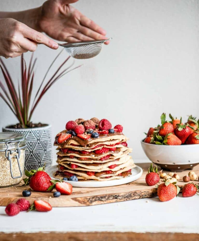 Gluten Free Crepe Recipe with fresh berries and hazelnut spread