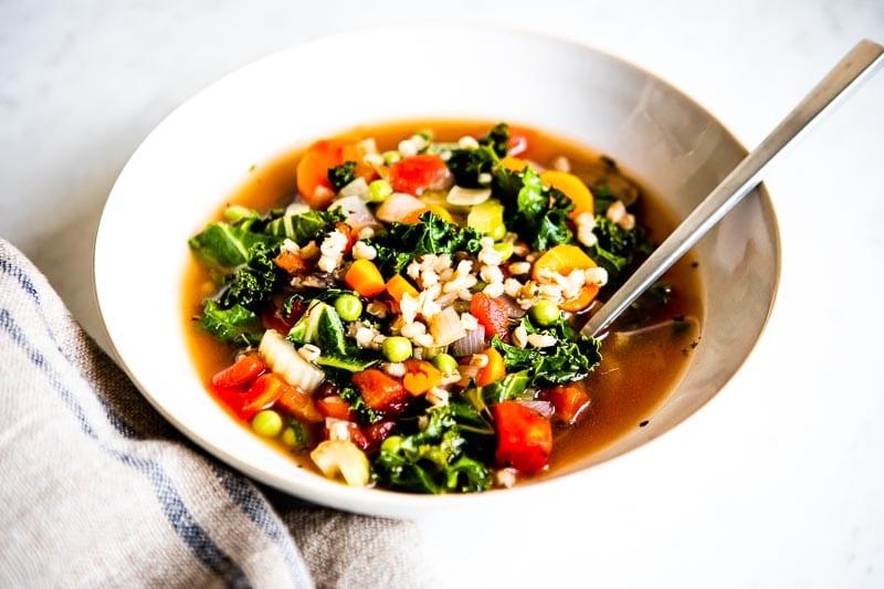 Whole food vegetable barley soup