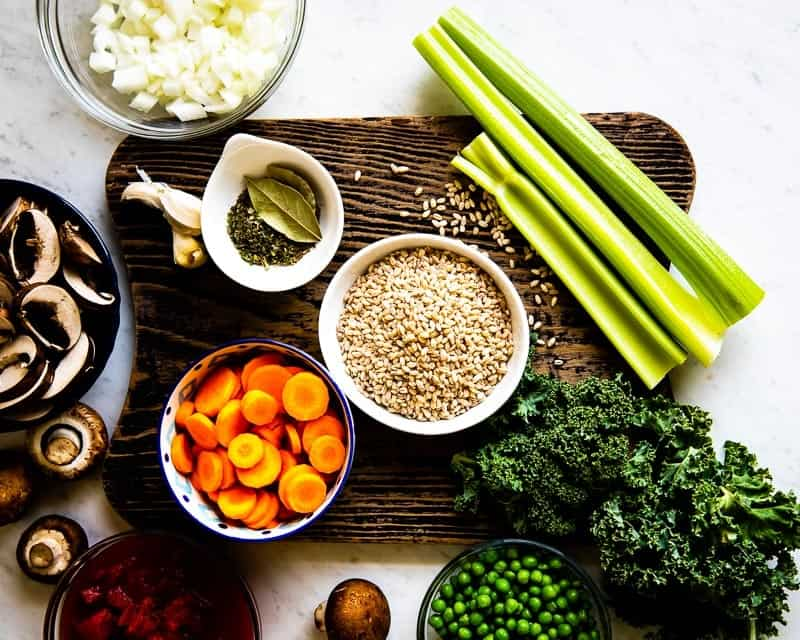 Ingredients needed to make a Vegetable Barley Soup