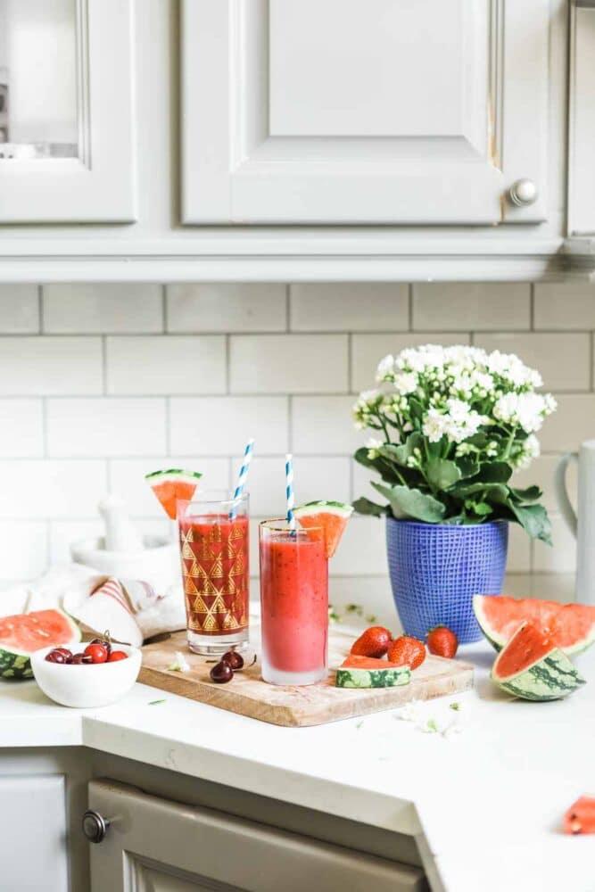 watermelon smoothie recipe in a kitchen