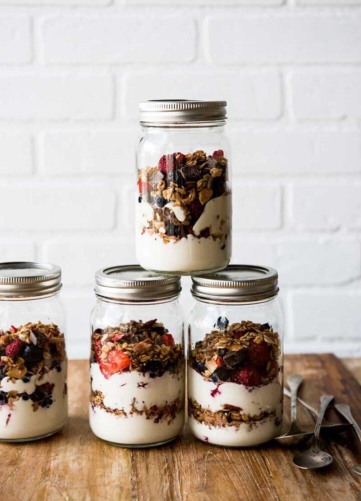 Granola and fruit in homemade vegan yogurt recipe