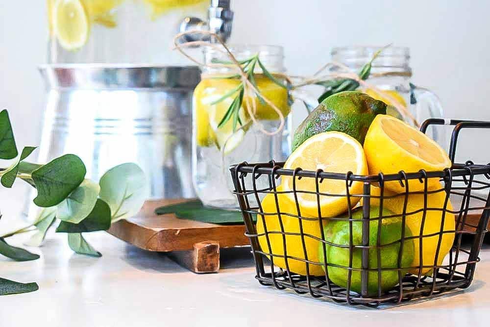 Basket of lemons to add to water to make detox water