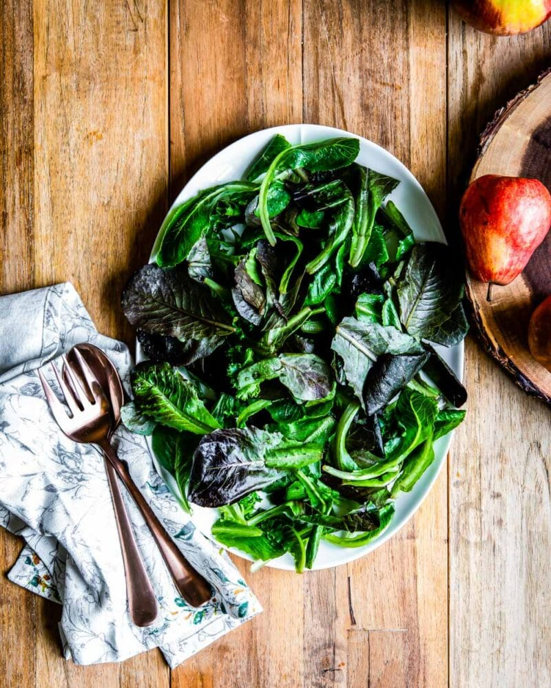 a bed of leafy greens, perfectly ready for any green salad recipe