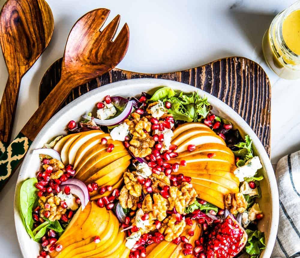 vegan pear salad recipe with walnuts