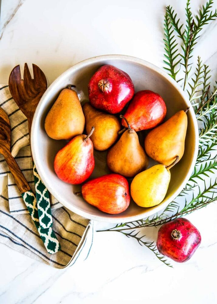 pears and pomegranates are featured in this pear salad recipe