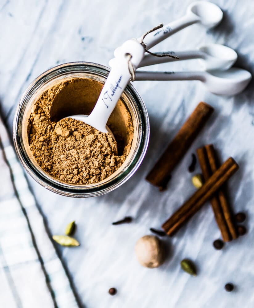 an overhead view of homemade pumpkin pie spice, the perfect blend to add to this pumpkin pancake recipe
