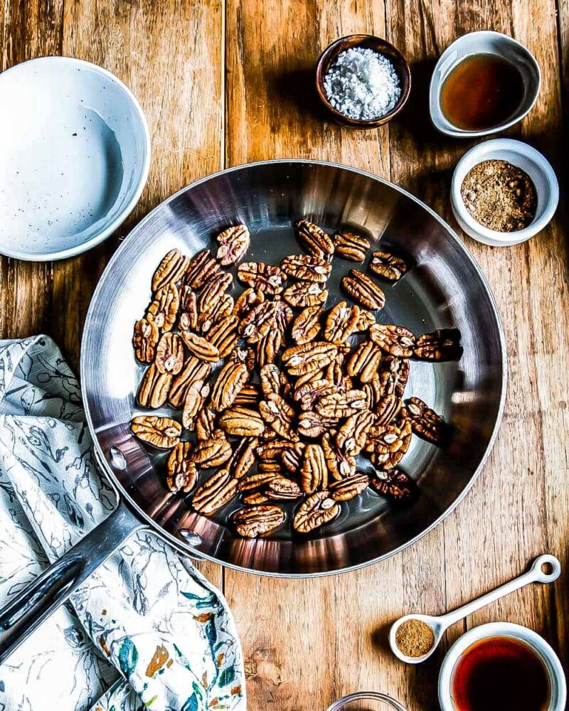 plant based ingredients ready for this how to make candied pecans recipe