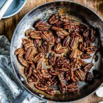 candied pecans recipe in a skillet