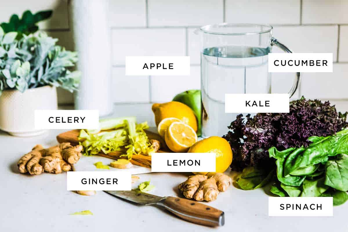 a super powered list of ingredients for this fruit and vegetable smoothie recipe