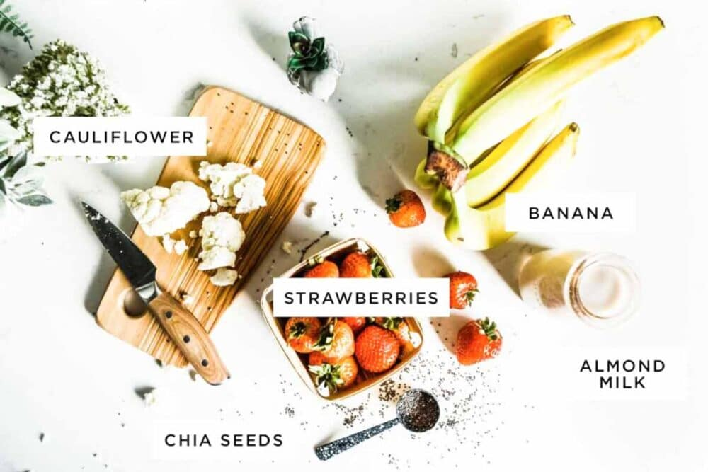 ingredients for a strawberry banana smoothie recipe