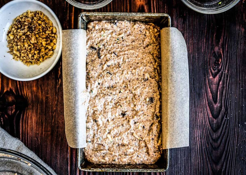 this healthy zucchini bread is ready for the oven.