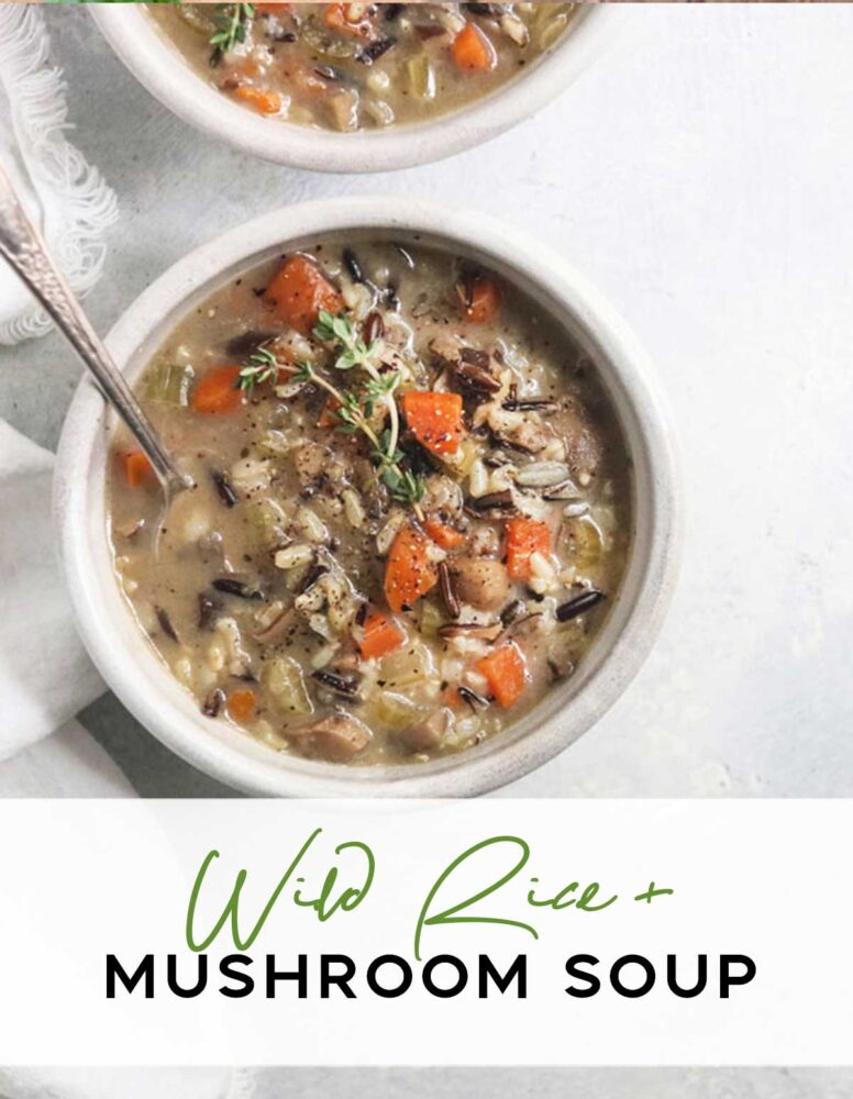 delicious, plant based, wild rice soup loaded with mushrooms and comforting flavors