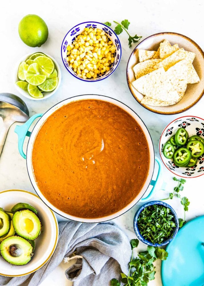 Top with your fav toppings and make this vegan tortilla soup recipe your own.