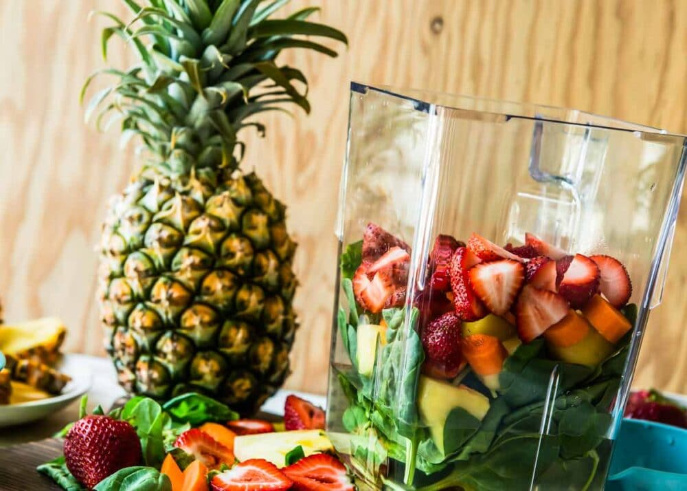 Pineapple sweetens this smoothie in a blender