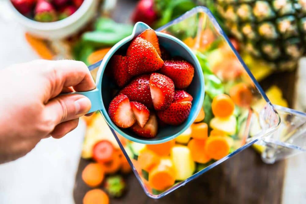 fresh strawberries for carrot smoothie