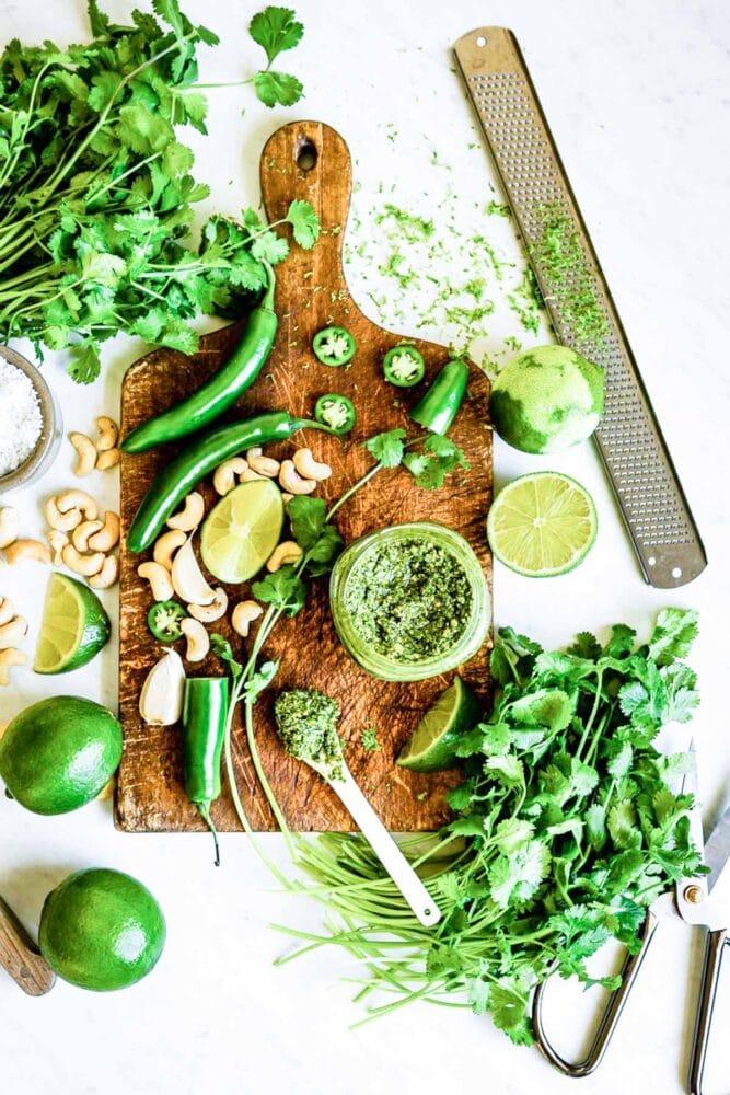 Vegan cilantro spicy pesto