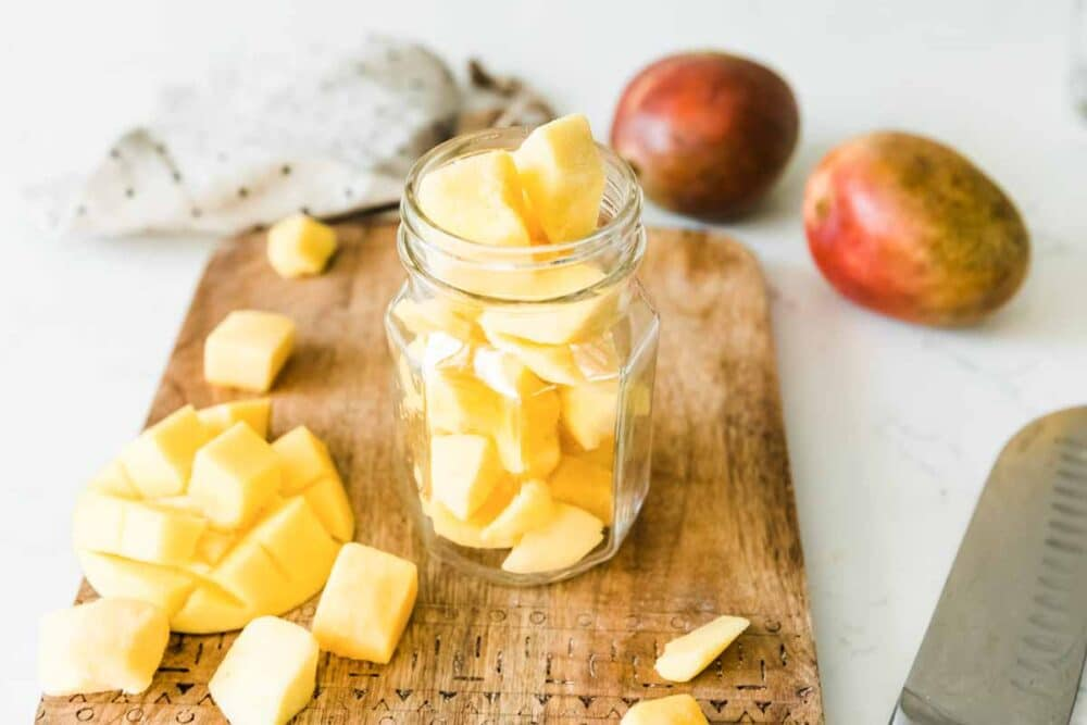 freshly diced mango in seconds