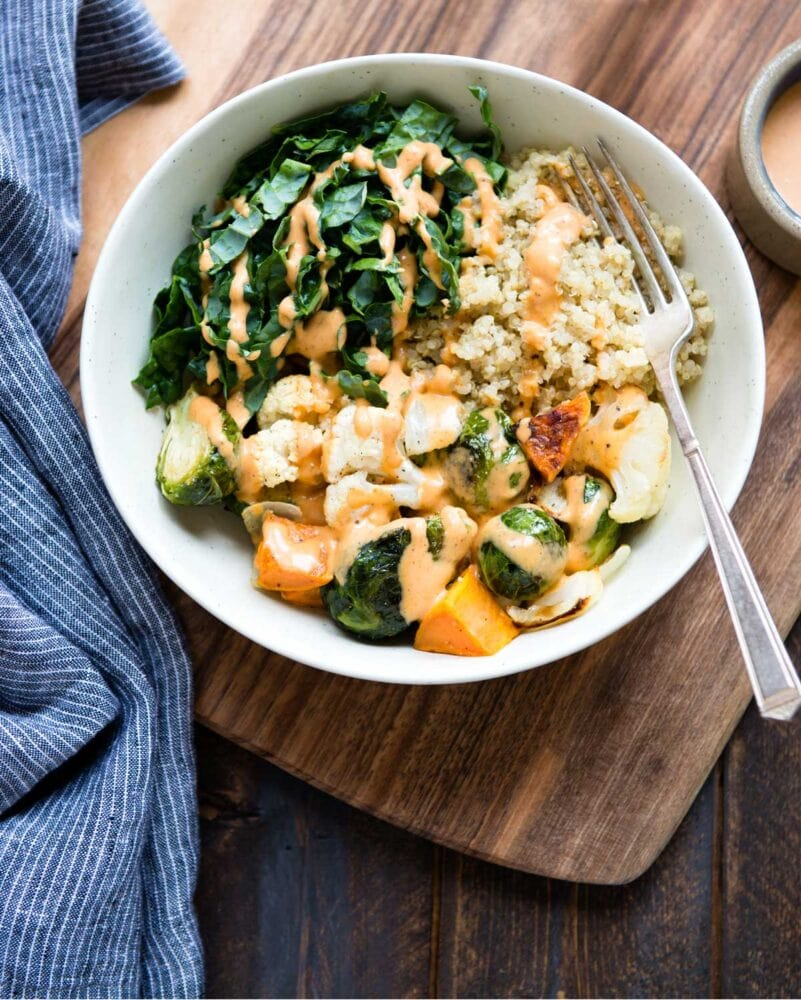 Roasted veggies with coconut sriracha sauce