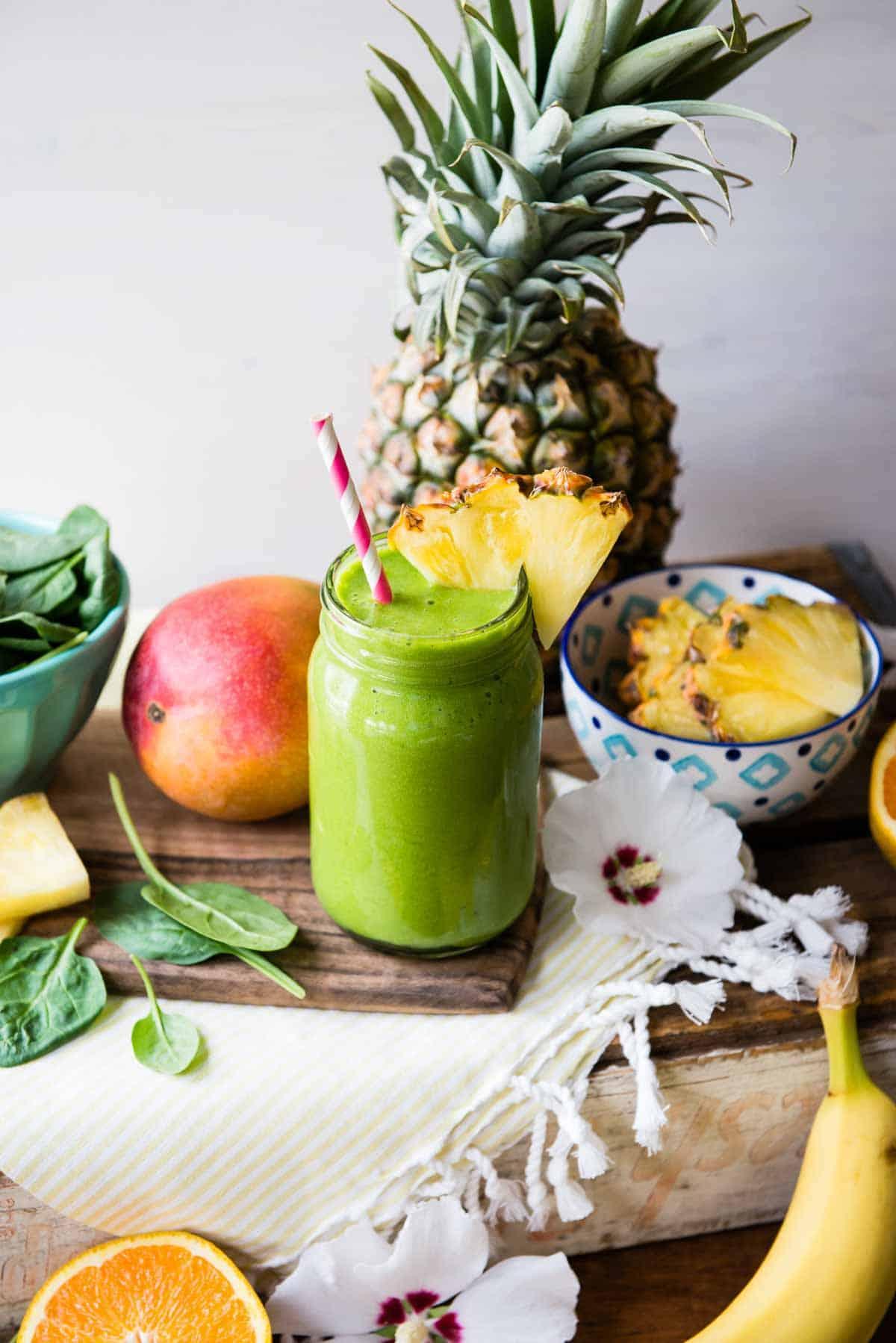 Fresh tropical fruit smoothie ingredients