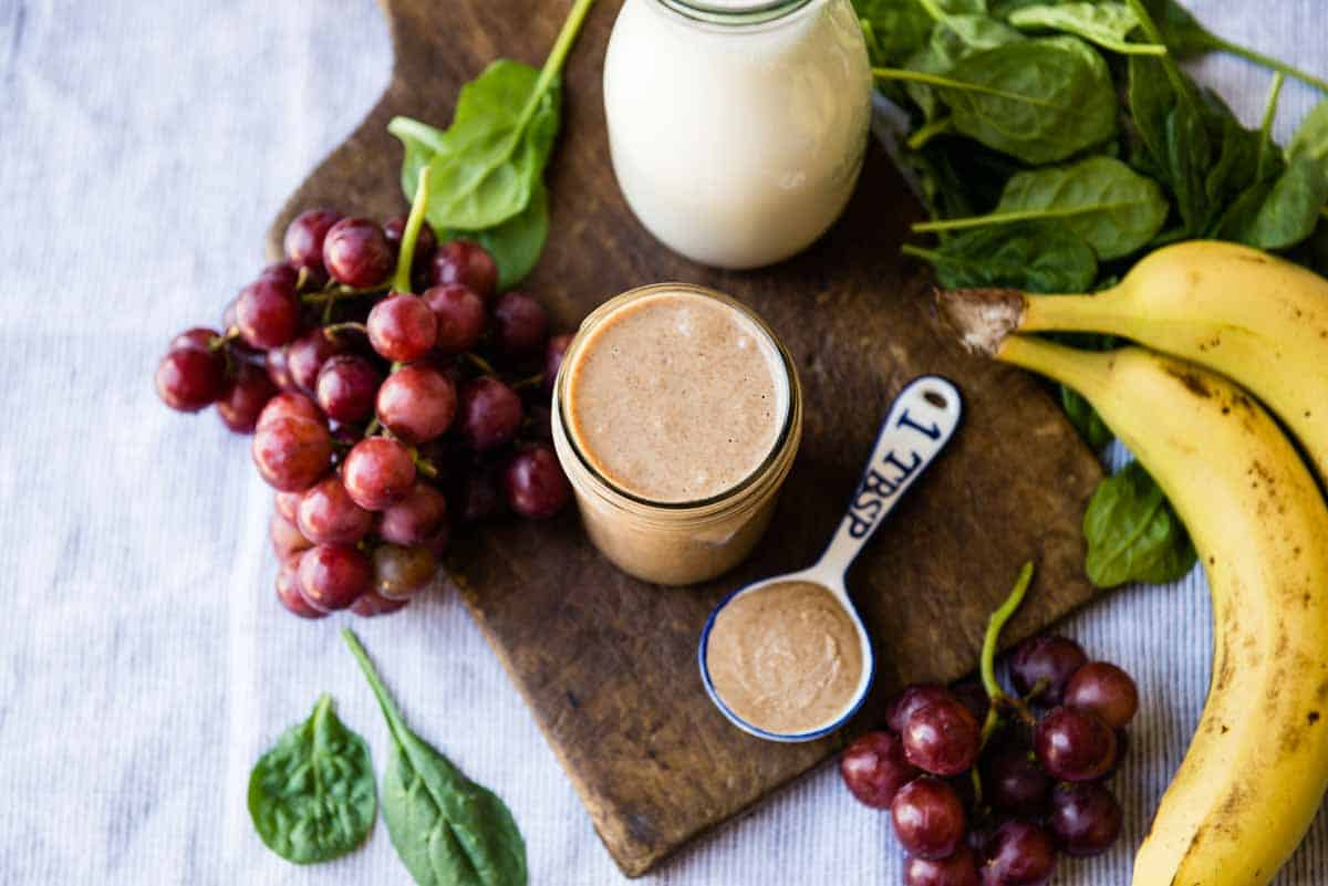 Ingredients for almond butter smoothie