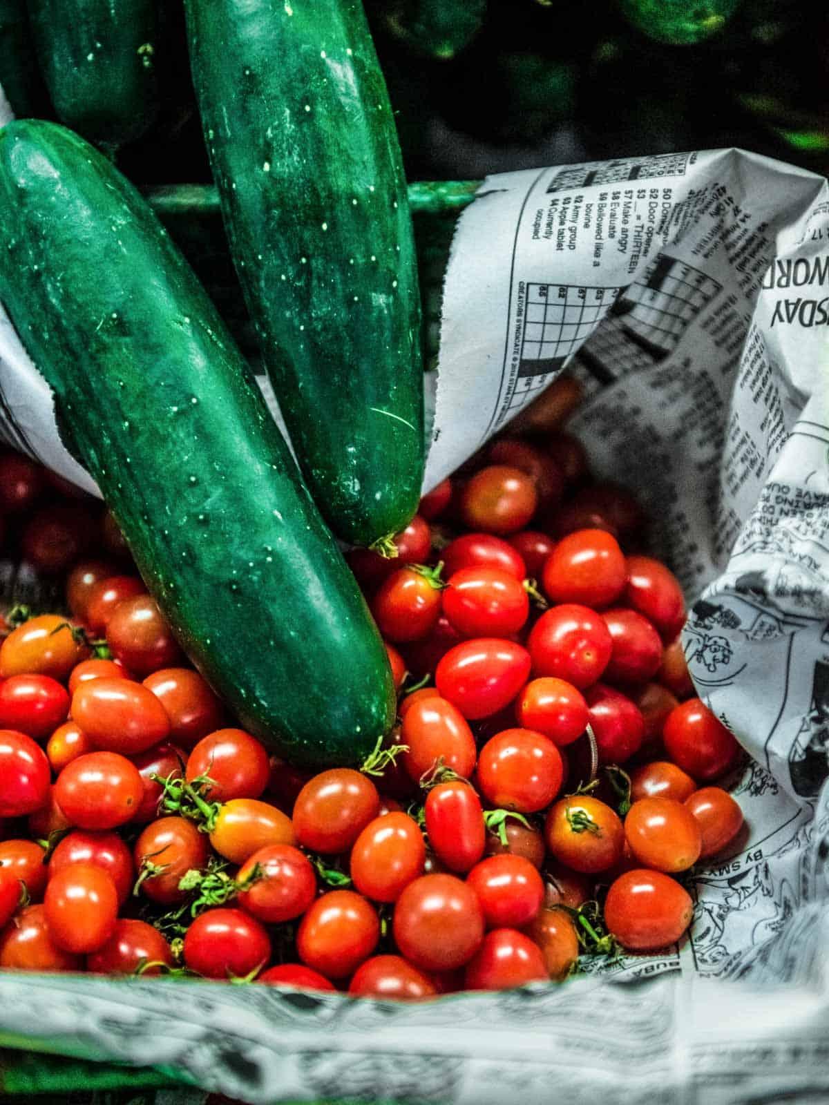 Summer seasonal veggies for soup
