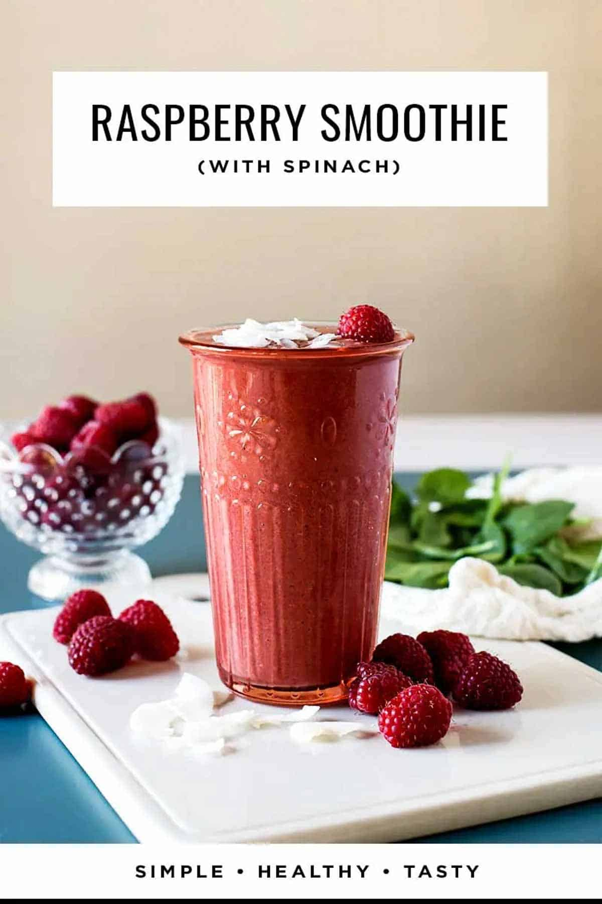 Raspberry smoothie with spinach
