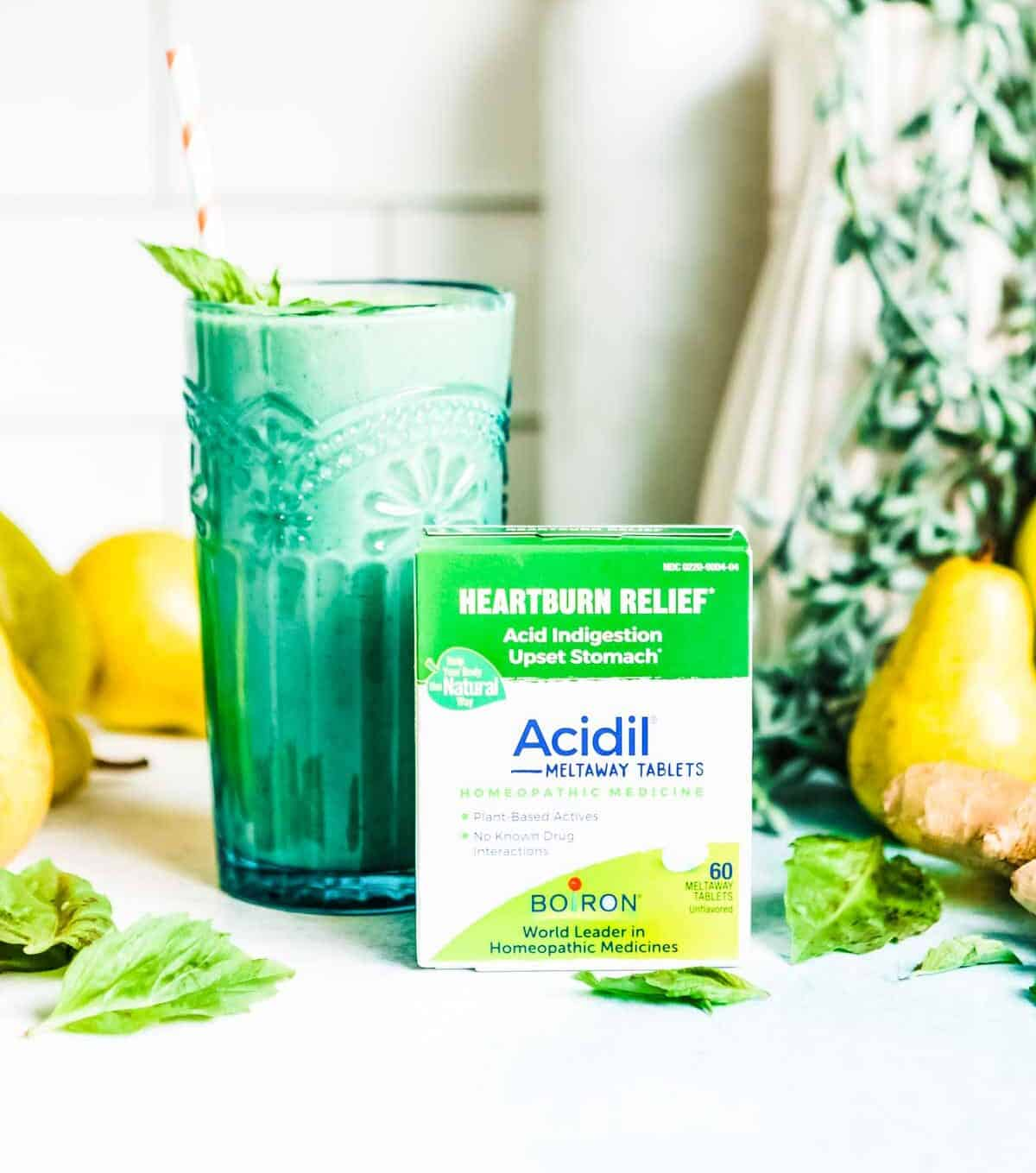 heartburn relief smoothie + pill